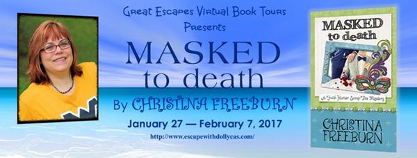 Masked to death by Christina Freeburn - banner