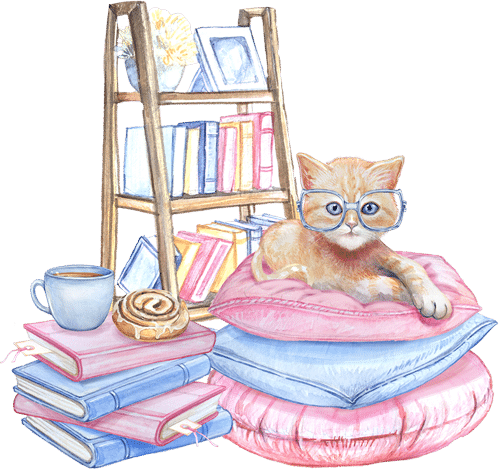 Kitten on pillows surrounded by books reading cozy mysteries